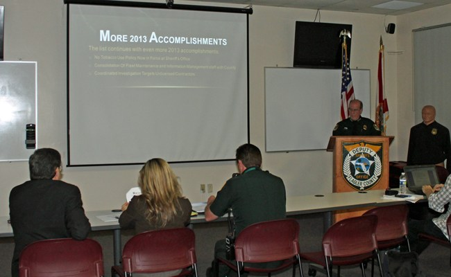 Sheriff Jim Manfre devoted his latest Citizens Advisory Council meeting to a recap of his accomplishments, though few citizens or council members showed up. (FCSO)