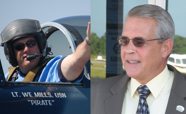 Bill Mills, left, is a major force behind Wings Over Flagler. Mick Cuthbertson is Bunnell's community development director. (© FlaglerLive)