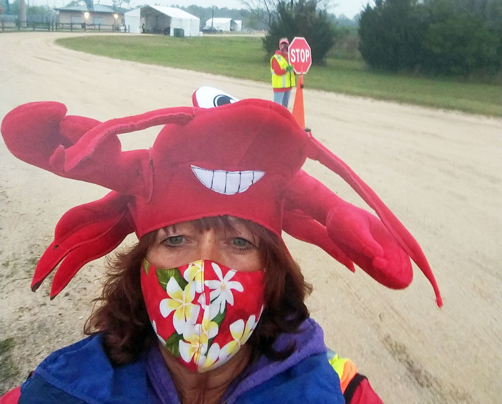 """Thompson came up with the idea of wearing her collection of """"crazy hats"""" to the Fairgrounds to make people smile."""