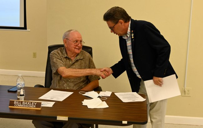 Commissioner Bill Baxley and former County Commissioner Nate McLaughlin. (© FlaglerLive)