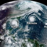 This image from NOAA's GOES-16 satellite on September 14, 2020, shows five tropical systems spinning in the Atlantic basin at one time. From left to right: Hurricane Sally in the Gulf of Mexico, Hurricane Paulette east of the Carolinas, the remnants of Tropical Storm Rene in the central Atlantic, and Tropical Storms Teddy and Vicky in the eastern Atlantic. A total of 10 named storms formed in September 2020 — the most for any month on record. (NOAA)