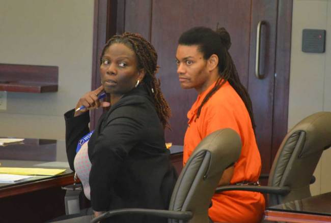 Victor Williams with his attorney, Assistant Public Defender Regina Nunnally, in court Monday. (© FlaglerLive)