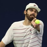 Reilly Opelka in his match at the U.S. Open Monday evening. (USTA)