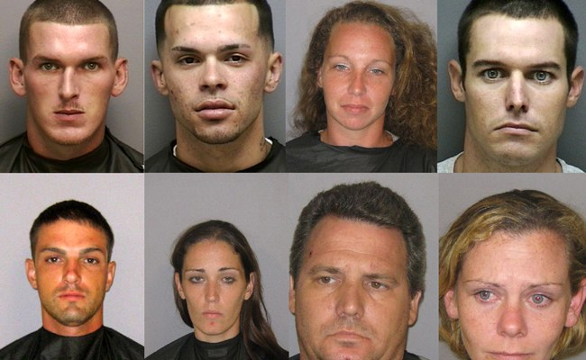 """Eight of the 18 local suspects arrested in """"Operation Script Club."""" Top row, from left: Andrew Forkner, Joey Bourke Jr., Denise Rochbach, Michael Cundall; bottow row, from left: Justin McCalligan, Erin Bracken, Dennis Kraemer, and Theria Shenton. (FCSO)"""