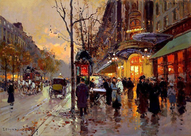 'Theatre du Vaudeville,' by Edouard Léon Cortès (1882–1969), a Parisian post-impressionist of French and Spanish ancestry. Click on the image for larger view. 'Theatre du Vaudeville,' by Edouard Léon Cortès (1882–1969), a Parisian post-impressionist of French and Spanish ancestry. Click on the image for larger view.