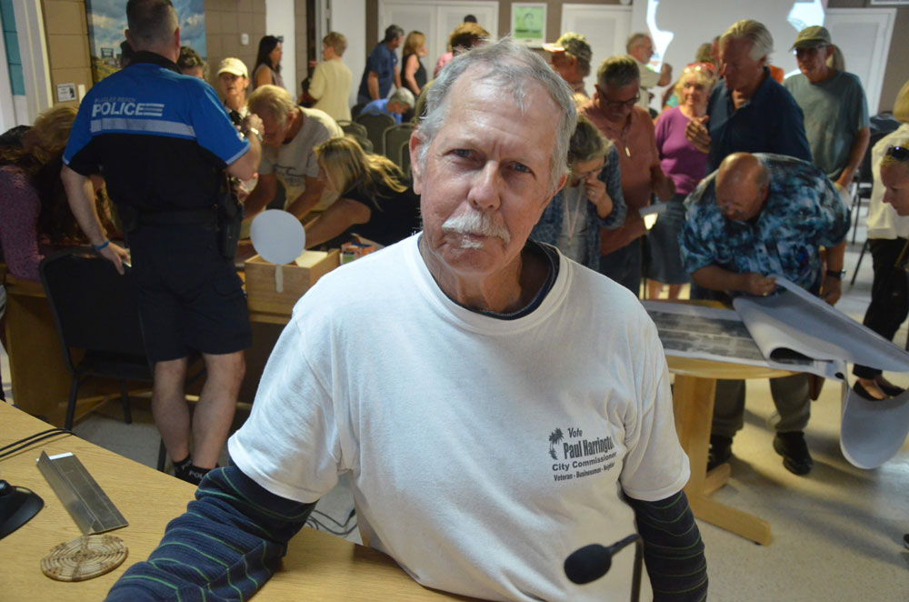 Paul Harrington had been in the thick of Flagler Beach City Commission issues going back five years. He attended almost every meeting and twice ran for a commission seat. (© FlaglerLive)
