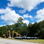 Piping and materials have been trucked in for the replacement and repairs that will begin on Sept. 27 on the damaged piping beneath Royal Palms Parkway.