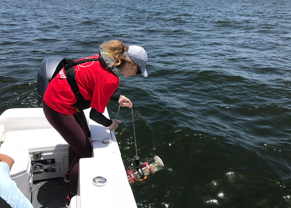 A Florida Fish and Wildlife scientist takes red tide samples. (FWC)