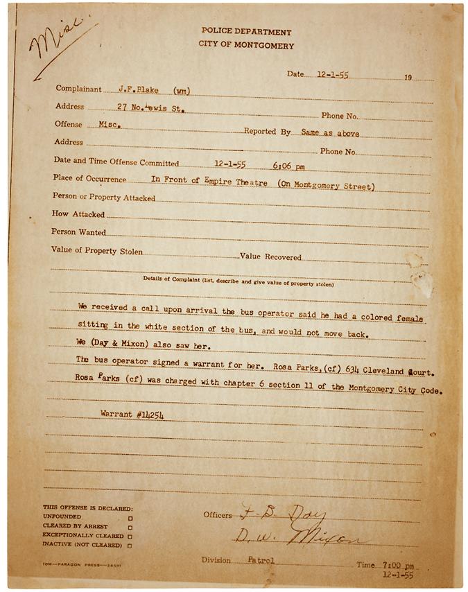 Rosa Parks Arrest Report, Montgomery, 1955