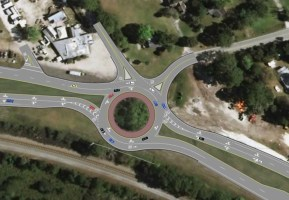 The proposed roundabout at the intersection of Old Dixie Highway and U.S. 1 is intended to drastically reduce the number of severe crashes at one of the county's most dangerous intersections. Two other such roundabouts are proposed for other dangerous intersections in Flagler. Click on the image for larger view. (DOT)