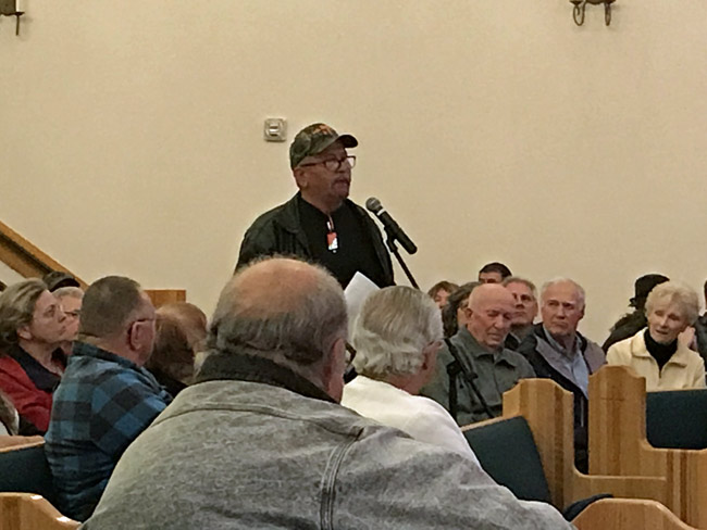 John Dance, a retired Florida Highway Patrol traffic homicide investigator, one of the 20-odd people who addressed a public hearing on a proposed roundabout on U.S. 1 Thursday evening, blamed victims and their human errors for crashes at the intersection of U.S. 1 and Old Dixie Highway. (© FlaglerLive)
