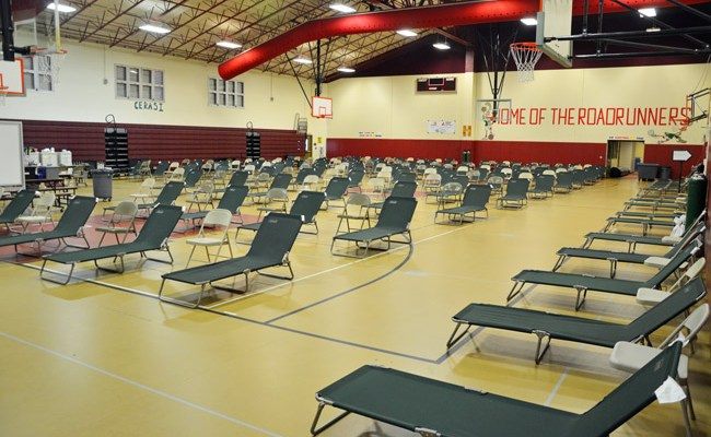 The cots lined up and ready at Rymfire Elementary, the special needs shelter. It is one of four shelters prepared for Hurricane Irma in Palm Coast. (© FlaglerLive)