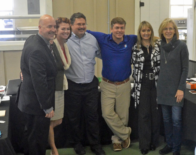 A three-year association between Jacob Oliva, left, and the Flagler County School Board is about to end, though two of the five current board members were not on the panel when he was hired--Janet McDonald, right, and Maria Barbosa, second from right. Other board members pictured are, from left, Colleen Conklin, Andy Dance and Board Chairman Trevor Tucker. (© FlaglerLive)