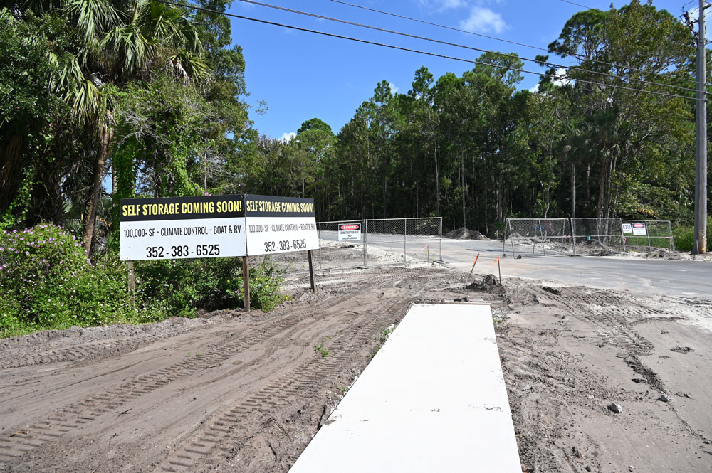 The latest of many self-storage facilities that have opened or will open in Flagler, this one on State Road 100 (Old Moody Boulevard) not far from the bridge. (© FlaglerLive)