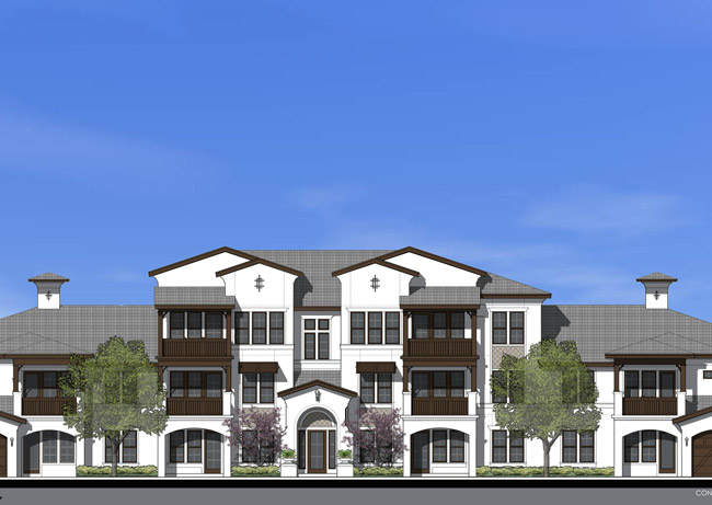 A rendering of how each of the 12 apartment buildings at Shadetree will look like.
