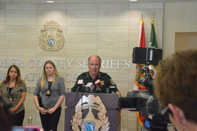 Sheriff Rick Staly with Detectives Conrad and Glasgow announcing the arrest this morning. (c FlaglerLive)
