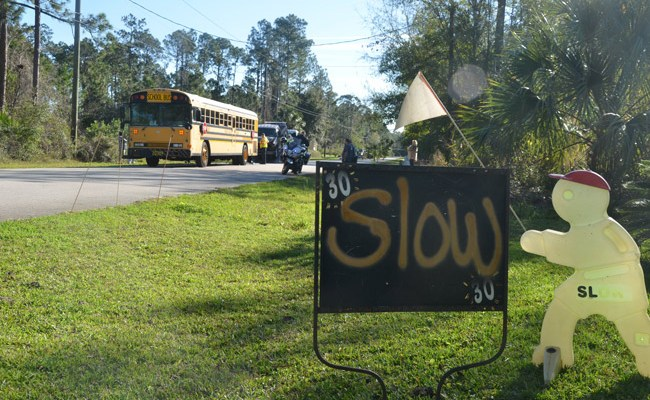 The scene of a crash involving a school bus last February in the LL Section of Palm Coast, the last time a bus was involved in a crash. (© FlaglerLive)