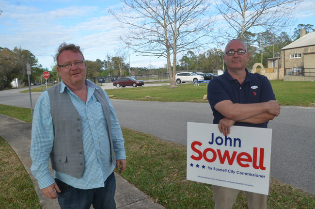 Bunnell City Commissioner John Rogers, who just won his third term, and John Sowell, who won his first, will be sworn-in shortly after 7 p.m. at a Bunnell City Commission meeting tonight. (© FlaglerLive)