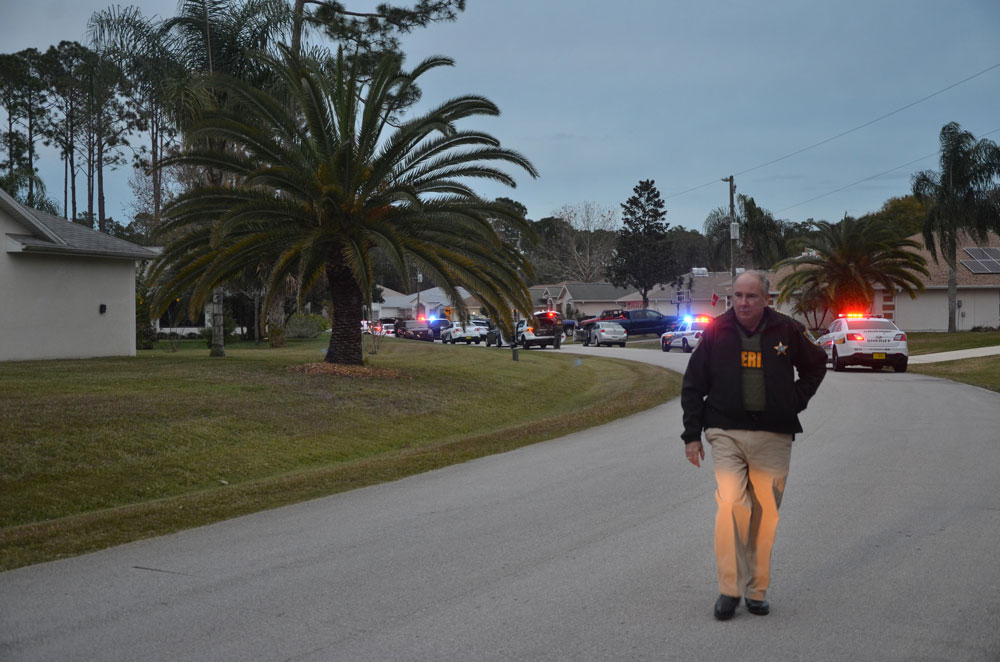 Sheriff Rick Staly at a crime scene in Palm Coast last year. (© FlaglerLive)