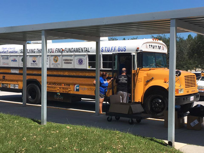 The Flagler Education Foundation's Stuff Bus, still busy after all these years: last week it traveled through West Flagler to bring basic necessities to residents flooded by Hurricane Irma. (Facebook)