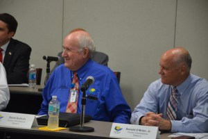 County Commissioner Dave Sullivan, left, is willing to increase the property tax rate modestly. Don O'Brien is not. Both agree taxes are going up regardless. (© FlaglerLive)