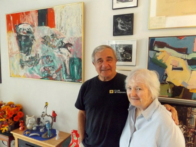 Tom Gargiulo and Arlene Volpe, pictured here in their Palm Coast home, founded the Gargiulo Art Foundation 20 years ago. The GAF typically honors its Flagler County Artist of the Year with an exhibition and opening reception, but a gallery closing forced the cancellation of this year's show honoring Lee Richards. (© FlaglerLive)