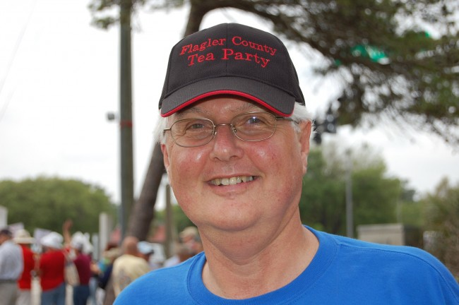 Tom Lawrence, chairman of the Flagler County Tea Party Group, presented the sort of misleading information the school district has been battling as it defends a proposed tax referendum. (© FlaglerLive)