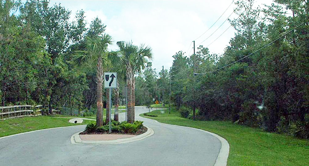 A typical traffic-calming island in a federal Department of Transportation image.