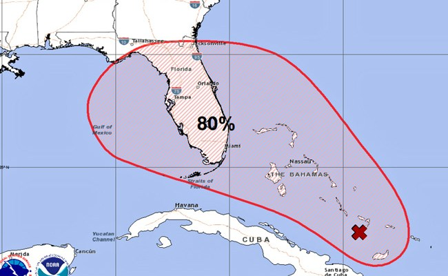 Humberto possibly in the making, again threatening the Bahamas. Click on the image for larger view. (NHC)