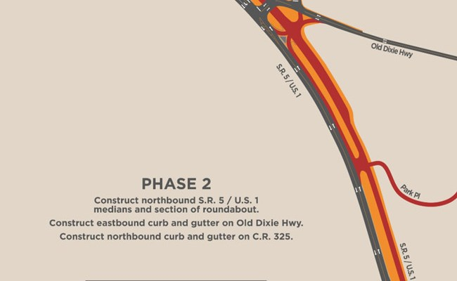 Construction begins this week on the future roundabout at U.S. 1 and Old Dixie Highway. Traffic shifts will affect the stretch of road for the next seven months.