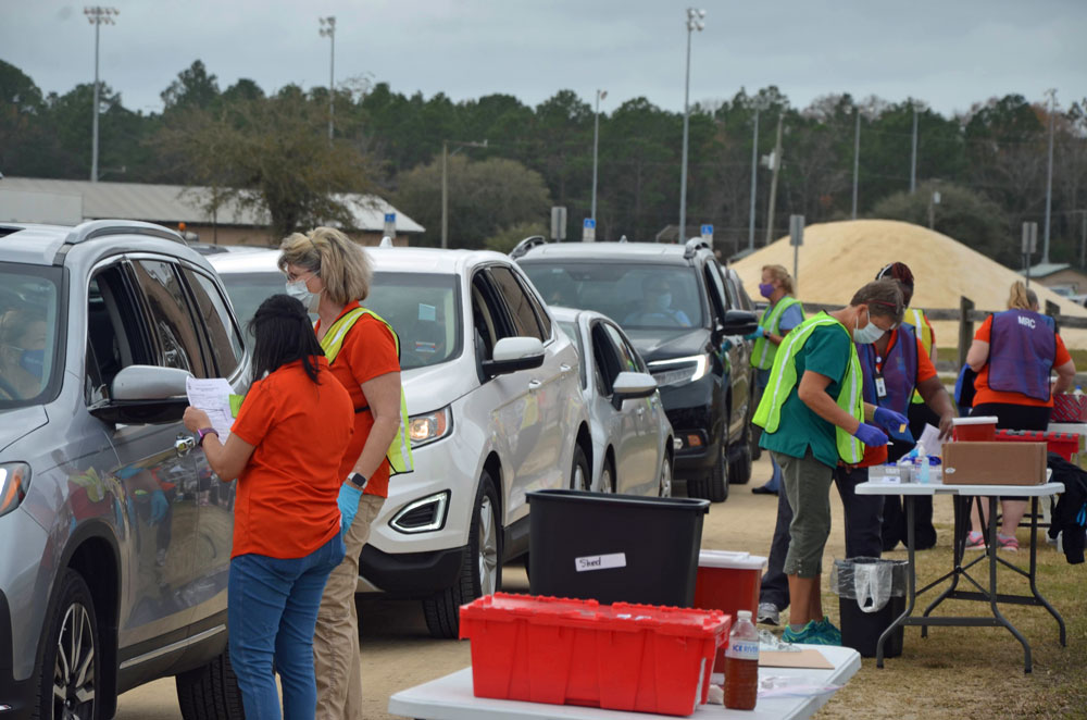 The Covid-19 vaccination station at the Flagler County Fairgrounds this morning. (© FlaglerLive)