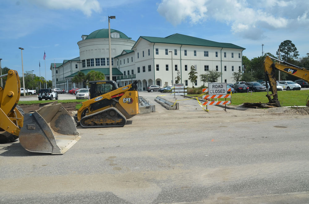 "The scene in front of the Government Services Building in Bunnell, where the Supervisor of Elections office is located, along with one of three early voting sites. County Administrator Jerry Cameron, who ordered the construction, says ""voting this year should be more convenient than ever."" (© FlaglerLive)"