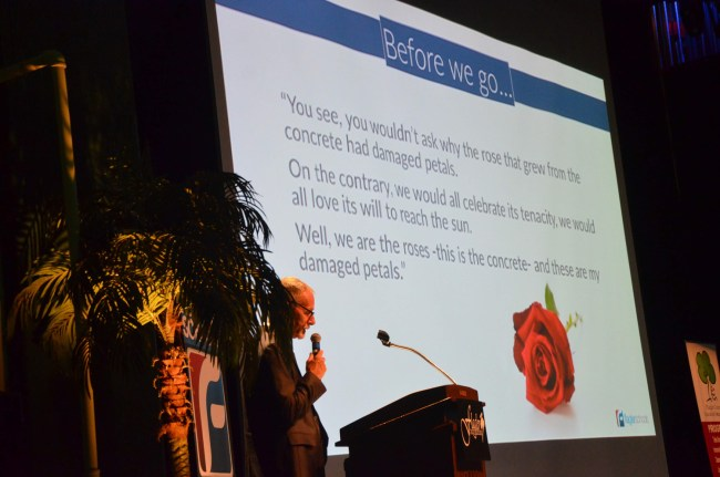 Superintendent Jim Tager's parting thought for teachers after yesterday's welcome back session at the Flagler Auditorium. (c FlaglerLive)