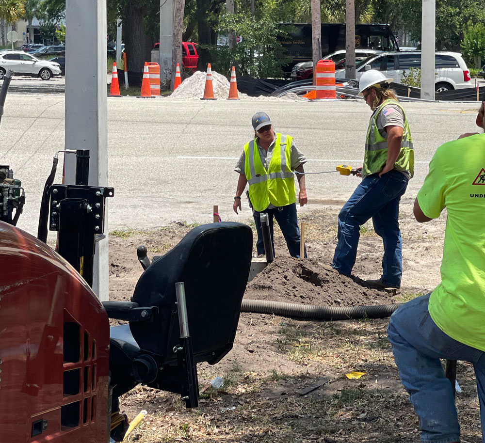 Work crews at the scene of the gas leak at midday today at Old Kings Road near Palm Coast Parkway. (Palm Coast)