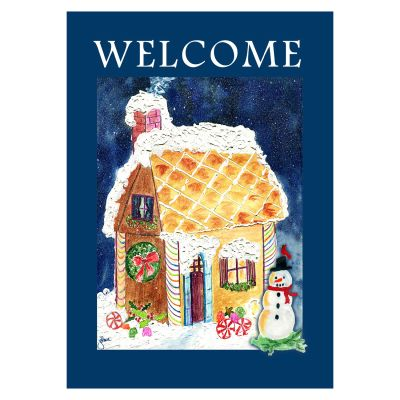 Gingerbread House Welcome Garden Flag