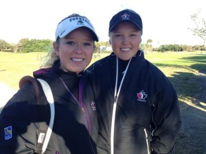Brooke Henderson (right) and Brittany Henderson (left) put on half clinic at the 2016 Kevin Haime Kids To The Golf Course Classic. Photo: Gerry Bower)