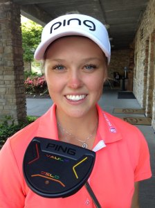 Brooke Henderson shows off her new PING putter (Photo: Chris Stevenson)