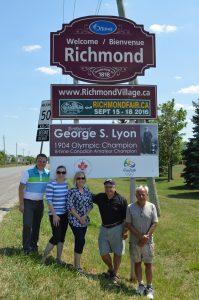 (L -R) left to right are Scott Moffatt, Ottawa City Councillor; Tracey Donaldson and Sue Woodford, Goulbourn Historical Society; Tino Bevacqua, Richmond Village Association Director and Michael Pasieka, Owner of Richmond Centennial Golf Club. (Photo: Joe McLean)