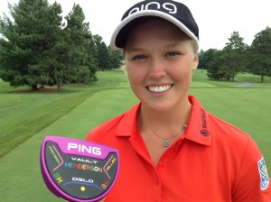 Brooke Henderson and her new customized PING putter for the Olympics (Photo: Chris Stevenson)