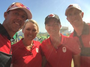 Brooke Henderson and Alena Sharp will begin their Olympic golf play on Wednesday. (Photo: Graham Delaet, Twitter)
