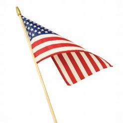 HEMMED POLYCOTTON U.S. STICK FLAG. 12″X18″