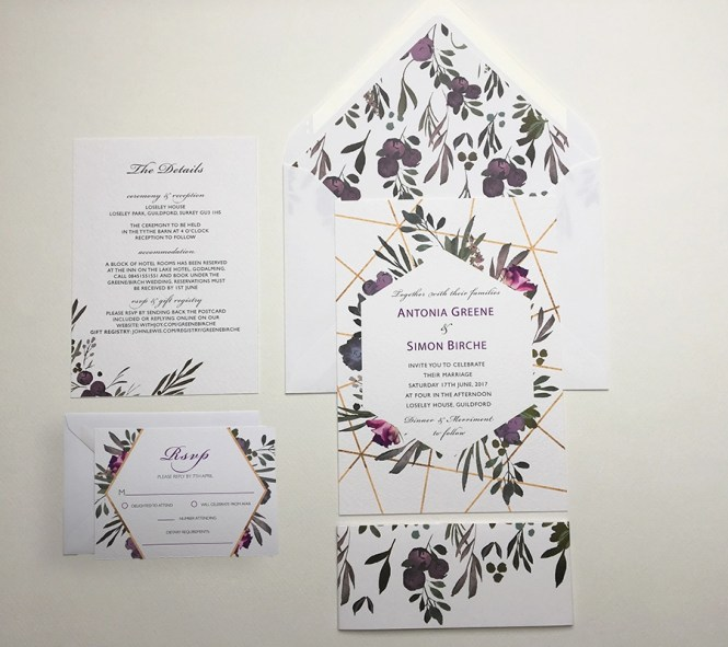 Muted Fl Wedding Invitation Sample