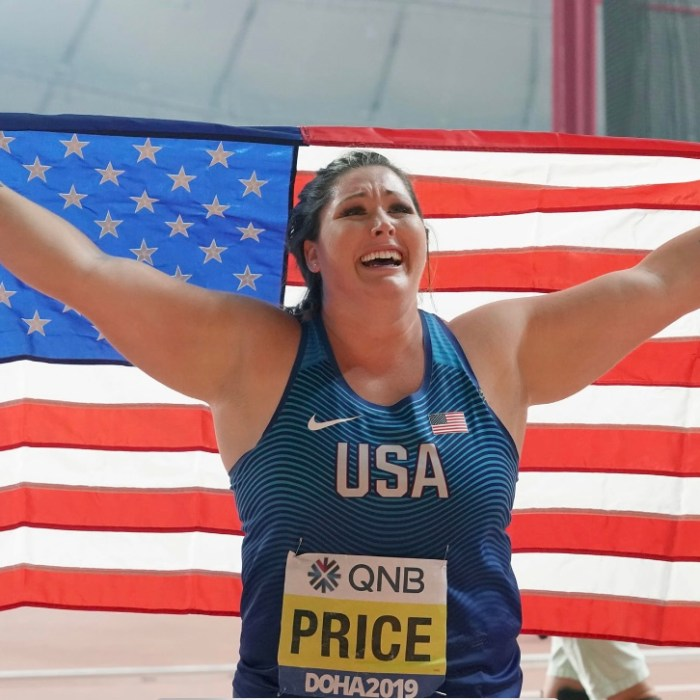 US Olympic hammer thrower DeAnna Price celebrates her victory at the 2019 World Championships. DeAnna talks about her experiences at the Rio 2016 Olympics on Keep the Flame Alive podcast.