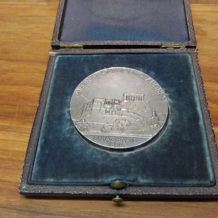 The first Olympic medal ever awarded at the Athens 1896 Olympics.