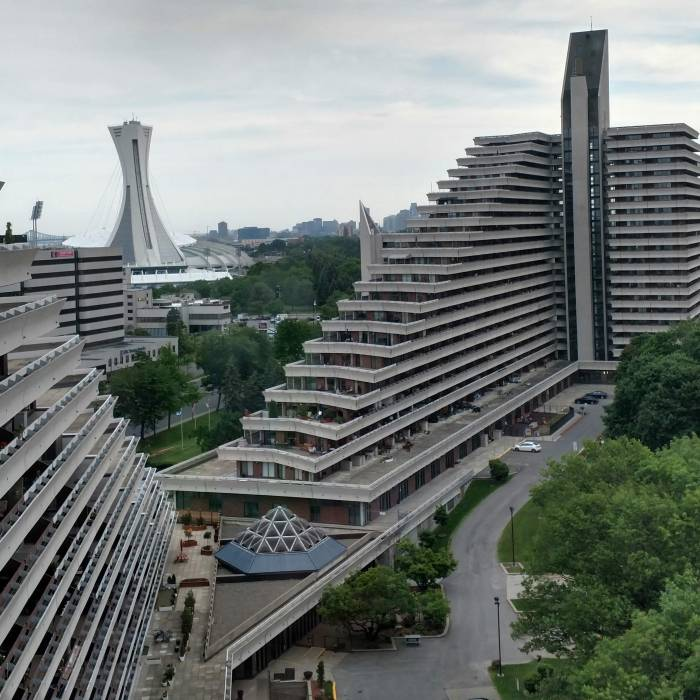 The Olympic Village and stadium tower from the 1976 Summer Olympics in Montreal.