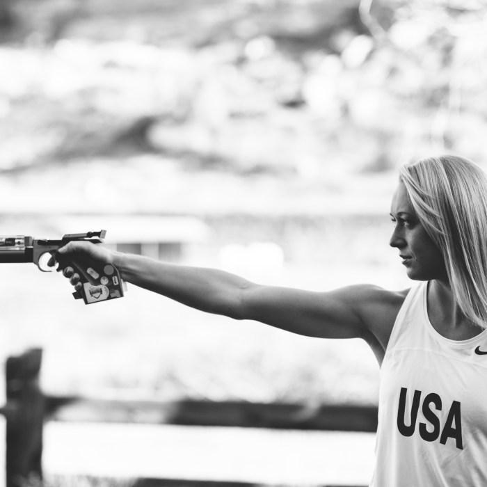 Samantha Achterberg Schultz aims a laser gun, one element of modern pentathlon. Photo by Shannon Gray, courtesy of Samantha Schultz.