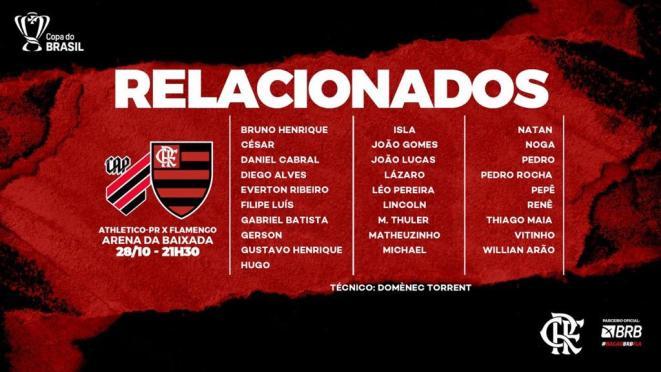 Flamengo terá 28 atletas à disposição contra o Athletico