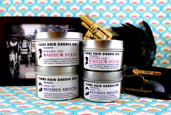 Roaring 1920s - Whitehaven Mansions + Wardlow House - Hercule Poirot + Phryne Fisher inspired set of two all natural soy wax candles - Flame Noir Candle Co
