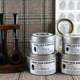 Scandal in Bohemia - 221B Baker St. + Queen Anne St. - Sherlock Holmes + Dr. John Watson inspired handmade all natural two candle set - Flame Noir Candle Co