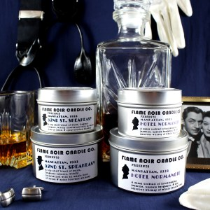 The Thin Man - Inspired by Nick and Nora Charles - All natural set of two soy wax candles - Flame Noir Candle Co
